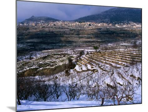 Snow Covered Fields and Village in the Qadisha Valley, Bcharre, Lebanon-Mark Daffey-Mounted Photographic Print