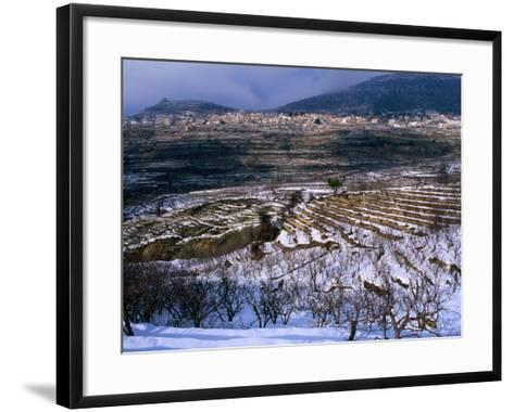 Snow Covered Fields and Village in the Qadisha Valley, Bcharre, Lebanon-Mark Daffey-Framed Art Print