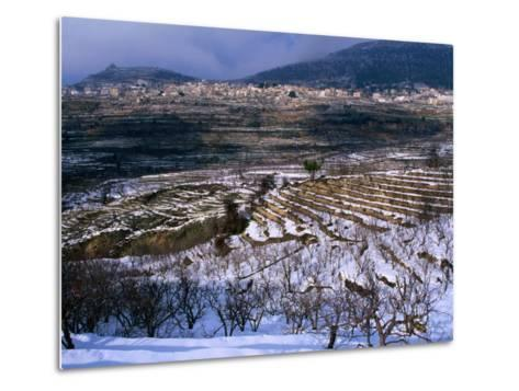 Snow Covered Fields and Village in the Qadisha Valley, Bcharre, Lebanon-Mark Daffey-Metal Print