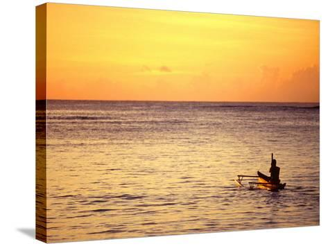 Pao-Pao Boat on the Water at Sunset, Vaisala Beach, Samoa-Tom Cockrem-Stretched Canvas Print