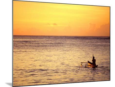 Pao-Pao Boat on the Water at Sunset, Vaisala Beach, Samoa-Tom Cockrem-Mounted Photographic Print