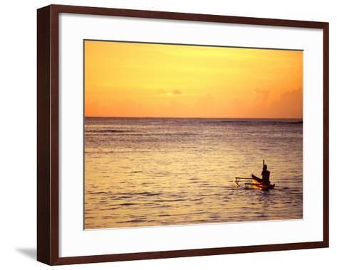 Pao-Pao Boat on the Water at Sunset, Vaisala Beach, Samoa-Tom Cockrem-Framed Art Print