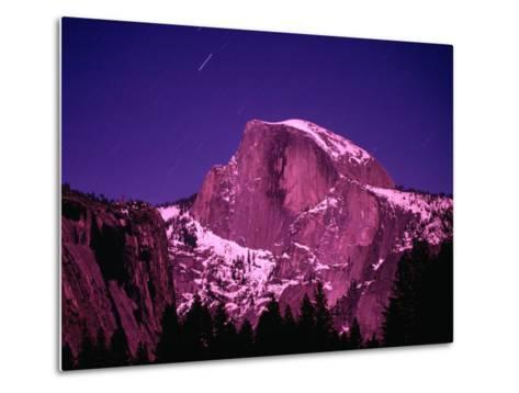 Half Dome with Pink Glow in Moonlight, Yosemite National Park, USA-John Elk III-Metal Print
