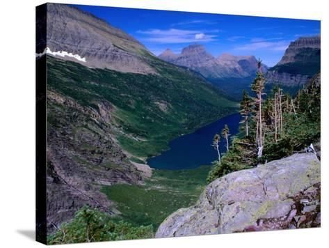Lake Ellen Wilson and Canyon Walls, Glacier National Park, USA-Aaron McCoy-Stretched Canvas Print