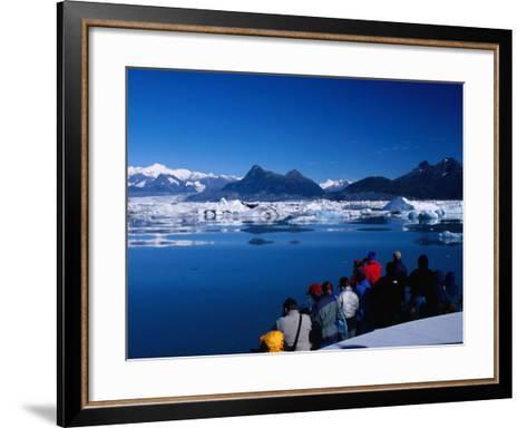 People on Tour Boat Looking Over Columbia Glacier, Prince William Sound, USA-Brent Winebrenner-Framed Art Print