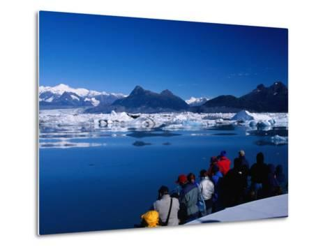 People on Tour Boat Looking Over Columbia Glacier, Prince William Sound, USA-Brent Winebrenner-Metal Print