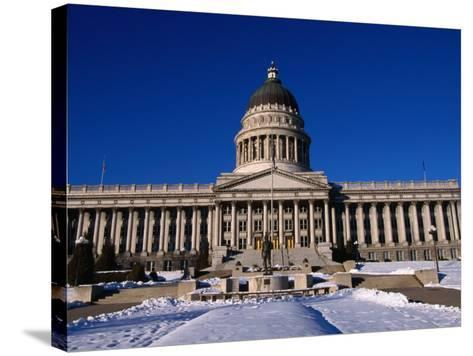 Snow in Front of State Capitol Building, Salt Lake City, Utah, USA-Stephen Saks-Stretched Canvas Print