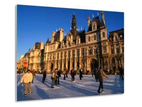 Ice-Skating in Front of Paris Hotel De Ville (City Hall), Paris, France-Martin Moos-Metal Print