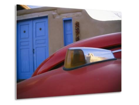 A Colorful Street Reflects the Ancient San Francisco De Asis Mission-Stephen St^ John-Metal Print