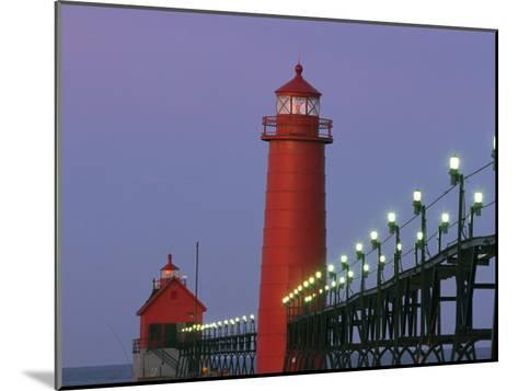 A View of the Grand Haven Lighthouse at Dawn-Ira Block-Mounted Photographic Print
