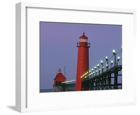 A View of the Grand Haven Lighthouse at Dawn-Ira Block-Framed Art Print