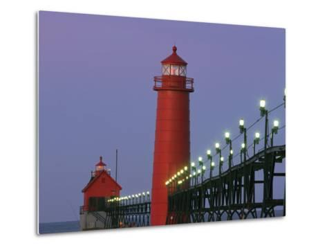 A View of the Grand Haven Lighthouse at Dawn-Ira Block-Metal Print