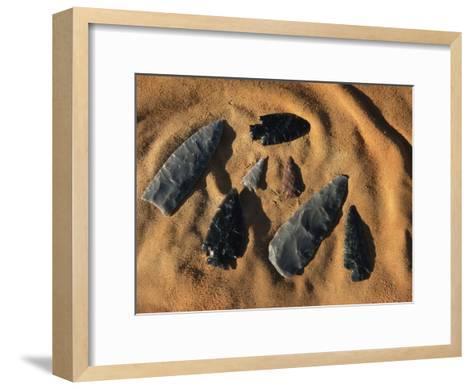 Indian Arrowheads in the Sand-Ira Block-Framed Art Print