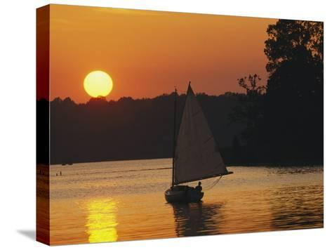Gaff-Rigged Catboat Sails Along the Shoreline at Sunset-Skip Brown-Stretched Canvas Print
