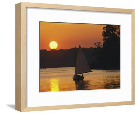 Gaff-Rigged Catboat Sails Along the Shoreline at Sunset-Skip Brown-Framed Art Print