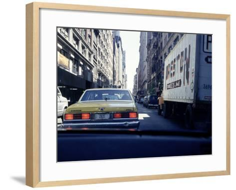 Yellow Taxi in Traffic, NYC, NY-Chris Minerva-Framed Art Print