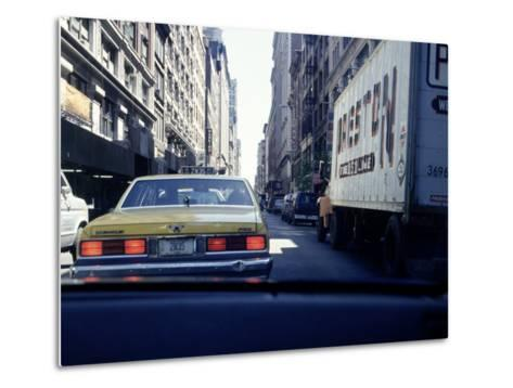 Yellow Taxi in Traffic, NYC, NY-Chris Minerva-Metal Print