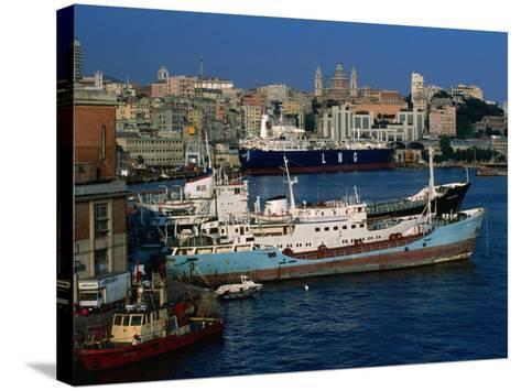 Ships in Port, Genova, Liguria, Italy-Dallas Stribley-Stretched Canvas Print