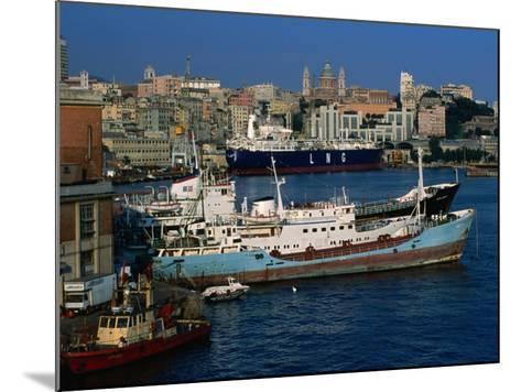 Ships in Port, Genova, Liguria, Italy-Dallas Stribley-Mounted Photographic Print