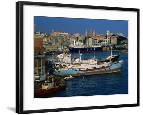 Ships in Port, Genova, Liguria, Italy-Dallas Stribley-Framed Art Print