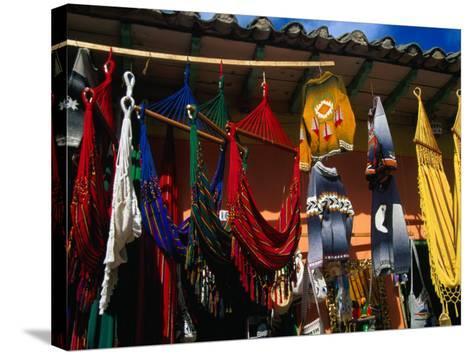 Hammocks and Clothing in Handicraft Shop, Raquira, Boyaca, Colombia-Krzysztof Dydynski-Stretched Canvas Print