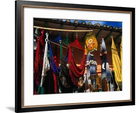 Hammocks and Clothing in Handicraft Shop, Raquira, Boyaca, Colombia-Krzysztof Dydynski-Framed Art Print