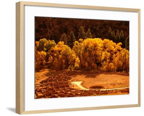Pueblo Ruins in Frijole Canyon, Bandelier National Monument, New Mexico, USA-Ralph Lee Hopkins-Framed Art Print