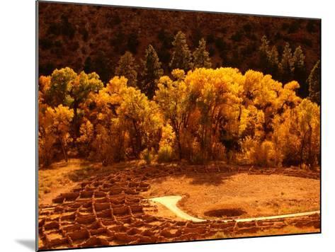 Pueblo Ruins in Frijole Canyon, Bandelier National Monument, New Mexico, USA-Ralph Lee Hopkins-Mounted Photographic Print