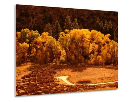 Pueblo Ruins in Frijole Canyon, Bandelier National Monument, New Mexico, USA-Ralph Lee Hopkins-Metal Print