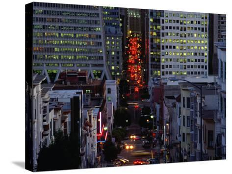 Downtown Traffic and Base of Transamerica Pyramid at Left, San Francisco, California, USA-Roberto Gerometta-Stretched Canvas Print