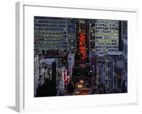 Downtown Traffic and Base of Transamerica Pyramid at Left, San Francisco, California, USA-Roberto Gerometta-Framed Art Print