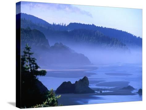 Arcadia Beach Coastline from Silver Point, Oregon, USA-Roberto Gerometta-Stretched Canvas Print