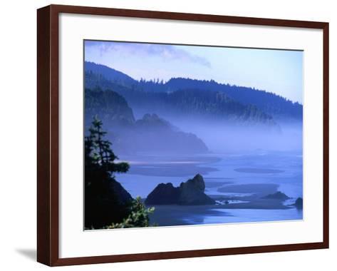 Arcadia Beach Coastline from Silver Point, Oregon, USA-Roberto Gerometta-Framed Art Print
