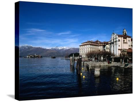 Palazzo Borromeo and Isola Di Pescatori in Background, Lago Maggiore, Italy-Martin Moos-Stretched Canvas Print