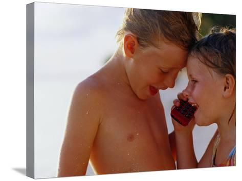 Children Talking on Mobile Phone, Cook Islands-Philip & Karen Smith-Stretched Canvas Print