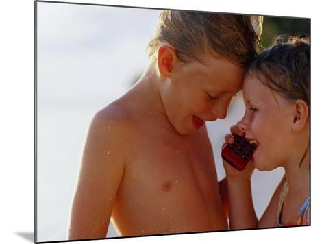 Children Talking on Mobile Phone, Cook Islands-Philip & Karen Smith-Mounted Photographic Print