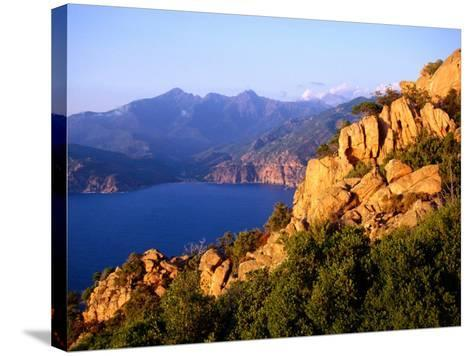 Les Calanques, Rocky Inlets Towering 400 Metres Above Golfe De Porto, Piana, Corsica, France-Tony Wheeler-Stretched Canvas Print