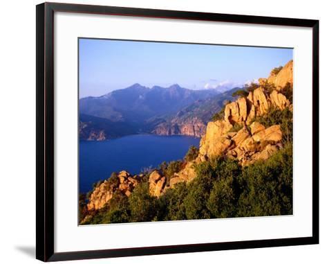Les Calanques, Rocky Inlets Towering 400 Metres Above Golfe De Porto, Piana, Corsica, France-Tony Wheeler-Framed Art Print
