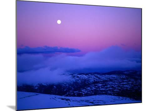 Moonrise and Sunset on Main Range in Winter, Kosciuszko National Park, New South Wales, Australia-Grant Dixon-Mounted Photographic Print