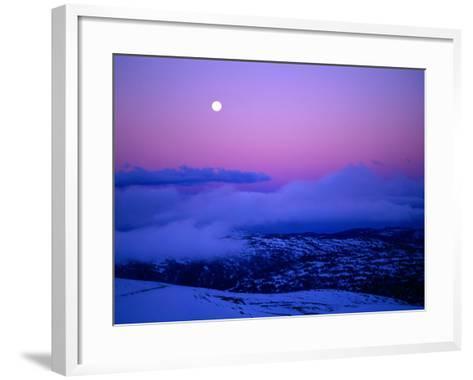 Moonrise and Sunset on Main Range in Winter, Kosciuszko National Park, New South Wales, Australia-Grant Dixon-Framed Art Print