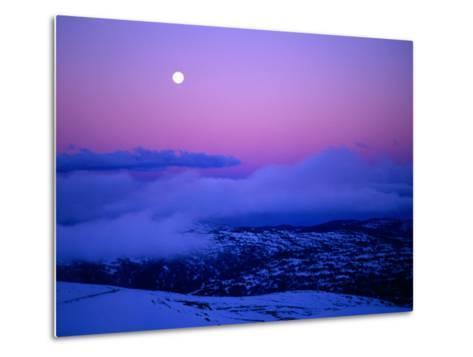 Moonrise and Sunset on Main Range in Winter, Kosciuszko National Park, New South Wales, Australia-Grant Dixon-Metal Print