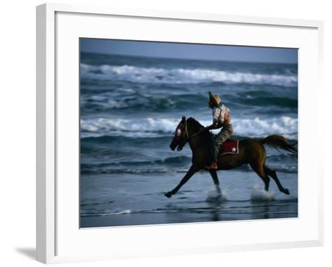Boy Riding Pony on Beach Parangtritis, Central Java, Indonesia-Phil Weymouth-Framed Art Print