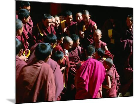 Monks Gathered in Courtyard of Historic Ganden Monastery, Ganden, Tibet-Richard I'Anson-Mounted Photographic Print