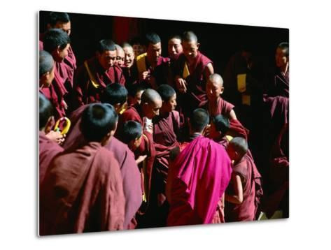 Monks Gathered in Courtyard of Historic Ganden Monastery, Ganden, Tibet-Richard I'Anson-Metal Print