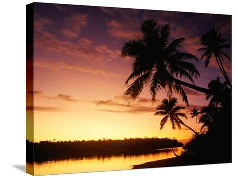 Coconut Palms Over Aitutaki Lagoon, Aitutaki, Southern Group, Cook Islands-John Banagan-Stretched Canvas Print