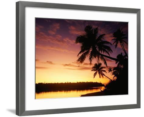 Coconut Palms Over Aitutaki Lagoon, Aitutaki, Southern Group, Cook Islands-John Banagan-Framed Art Print