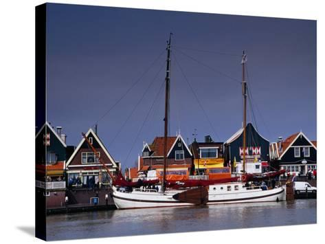 Waterfront Houses and Boats, Volendam, Netherlands-Izzet Keribar-Stretched Canvas Print