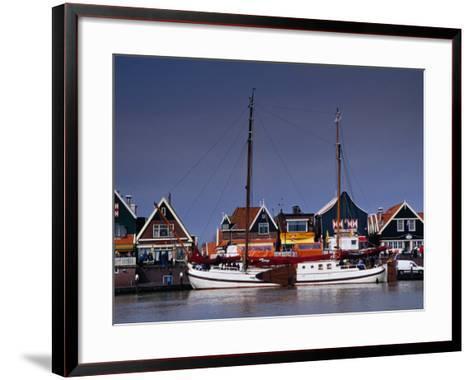 Waterfront Houses and Boats, Volendam, Netherlands-Izzet Keribar-Framed Art Print
