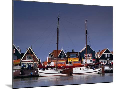 Waterfront Houses and Boats, Volendam, Netherlands-Izzet Keribar-Mounted Photographic Print