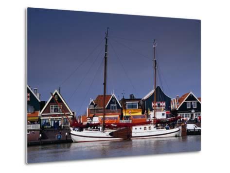 Waterfront Houses and Boats, Volendam, Netherlands-Izzet Keribar-Metal Print